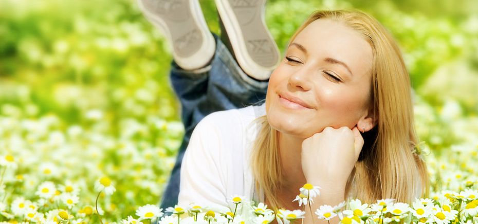woman relaxing in flowers